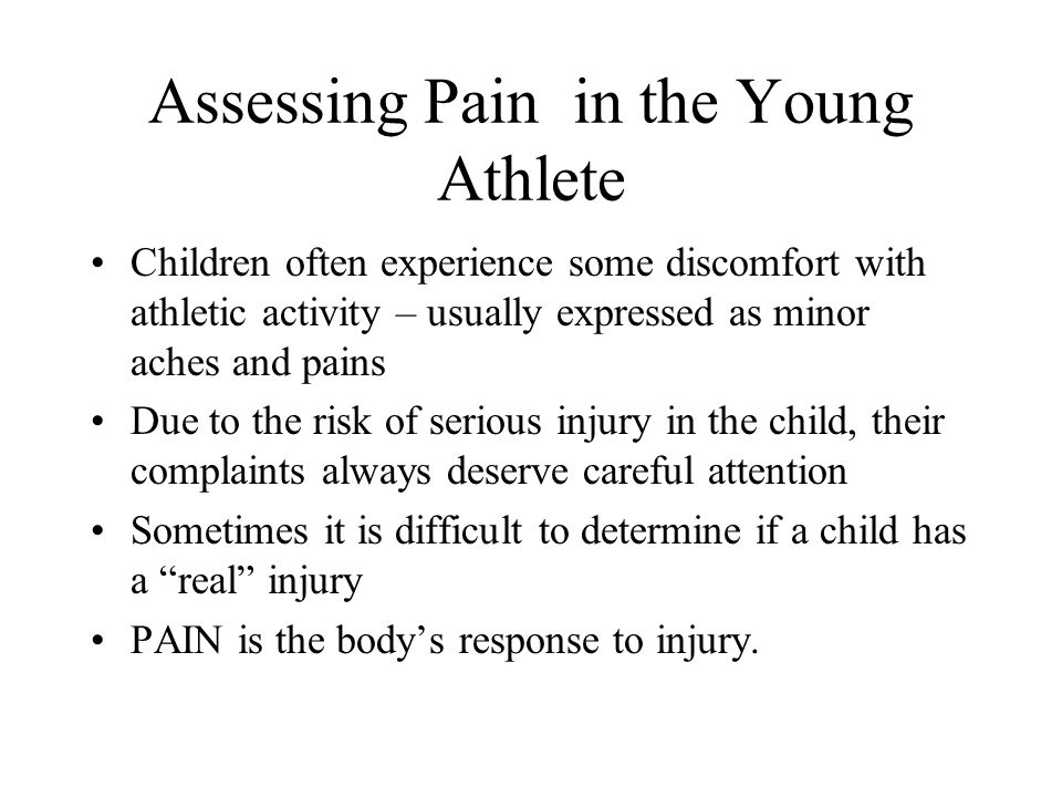 Assessing Pain in the Young Athlete