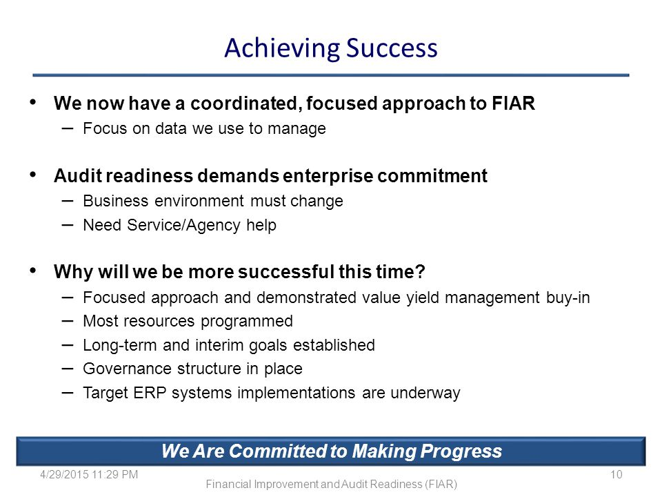 We Are Committed to Making Progress