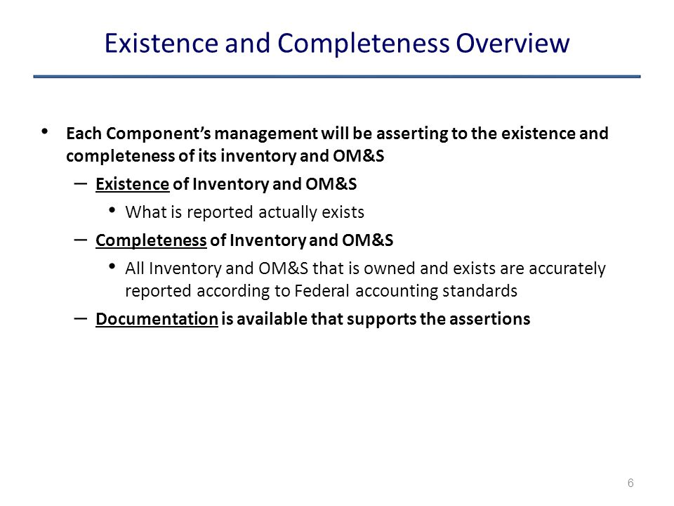 Existence and Completeness Overview