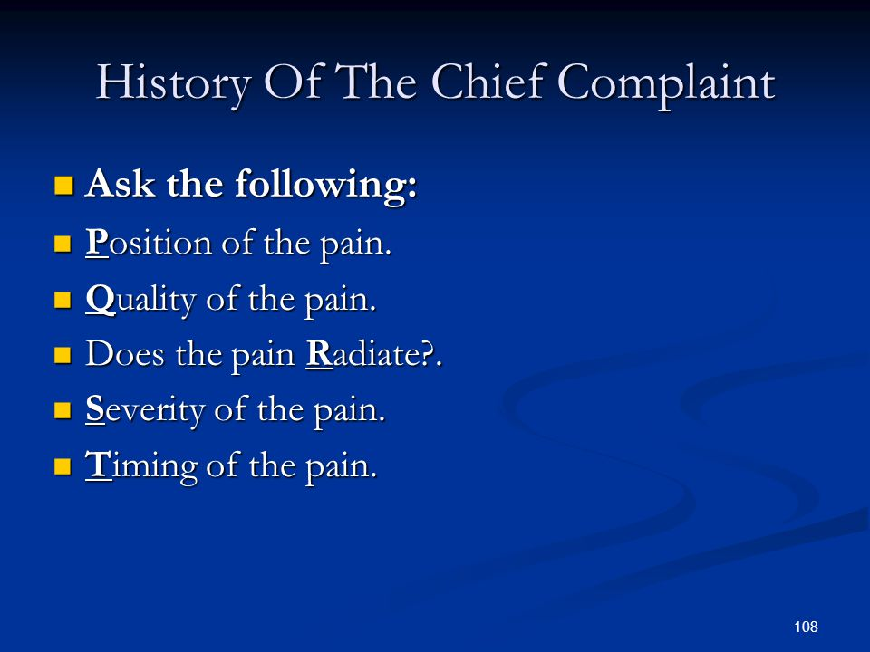 History Of The Chief Complaint