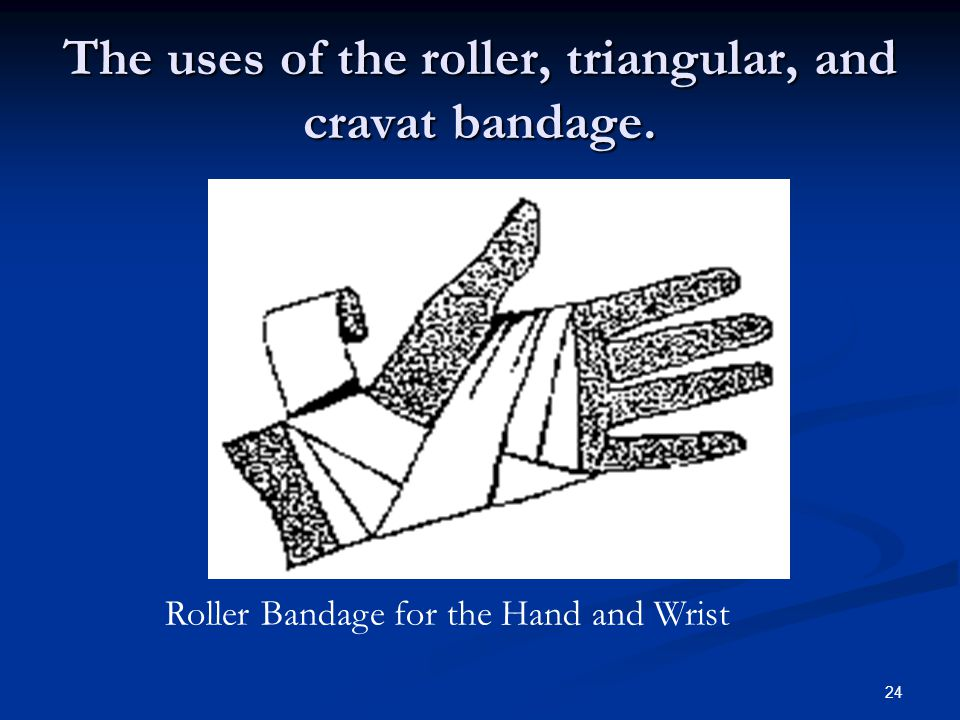 The uses of the roller, triangular, and cravat bandage.