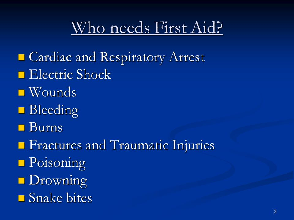 Who needs First Aid Cardiac and Respiratory Arrest Electric Shock