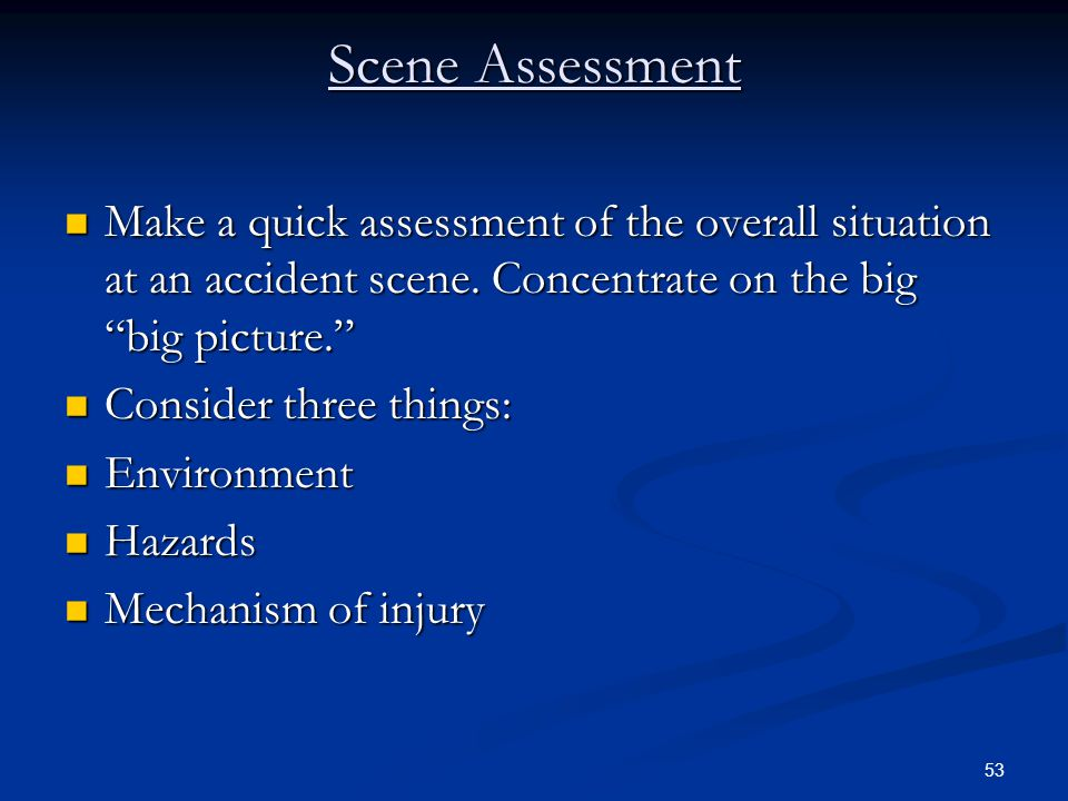 Scene Assessment Make a quick assessment of the overall situation at an accident scene. Concentrate on the big big picture.