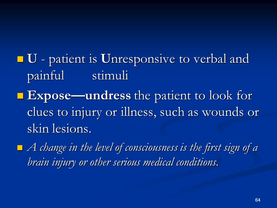 U - patient is Unresponsive to verbal and painful stimuli