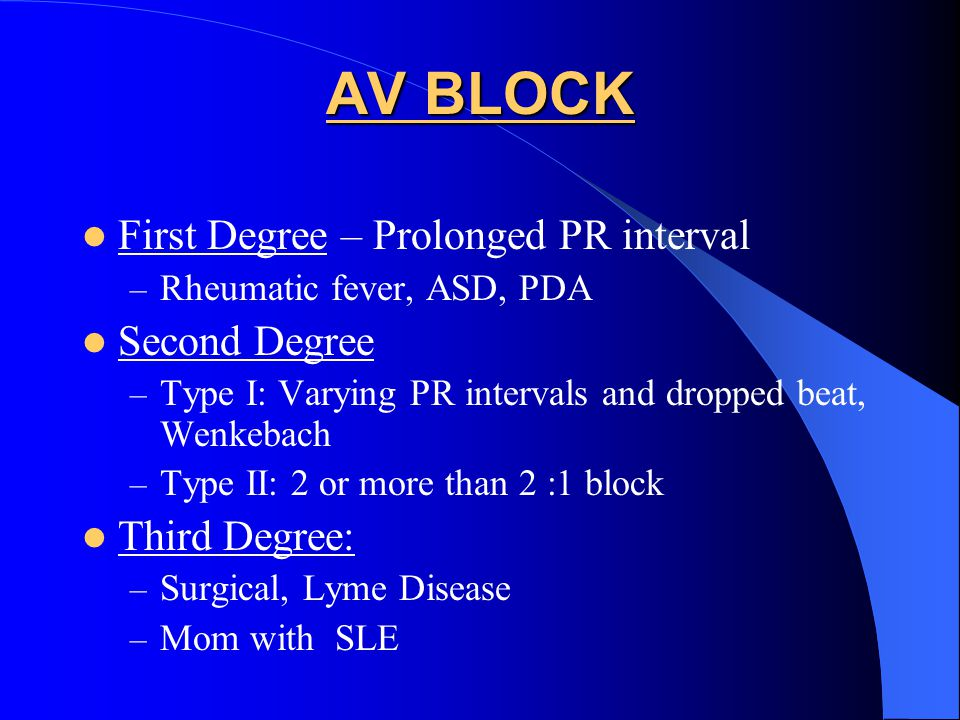 AV BLOCK First Degree – Prolonged PR interval Second Degree