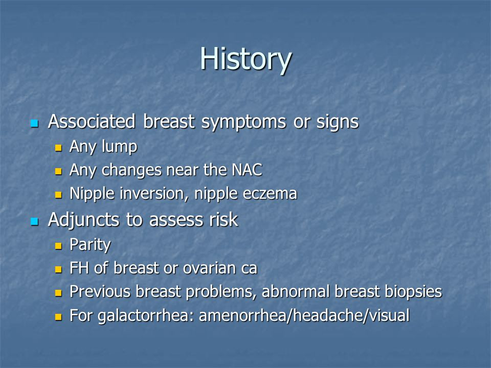 History Associated breast symptoms or signs Adjuncts to assess risk