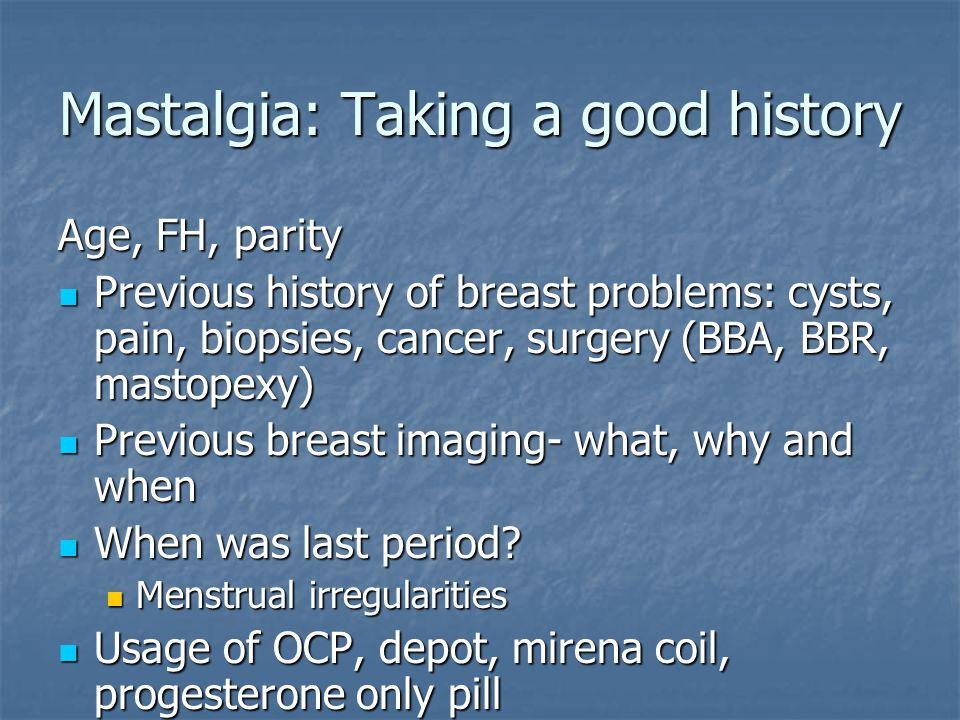Mastalgia: Taking a good history