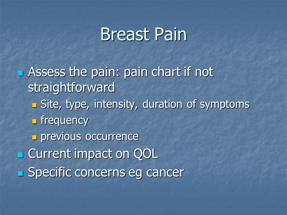 Breast Pain Assess the pain: pain chart if not straightforward