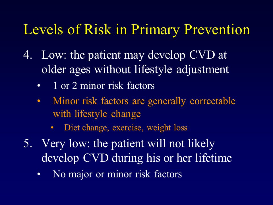 Levels of Risk in Primary Prevention