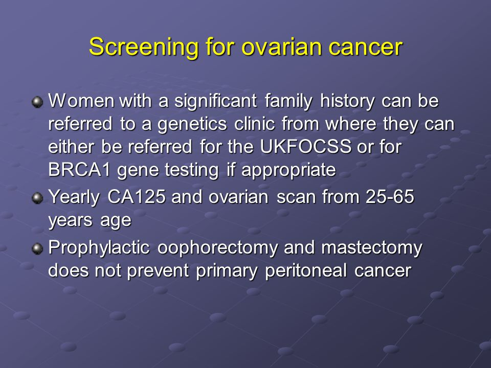 Screening for ovarian cancer