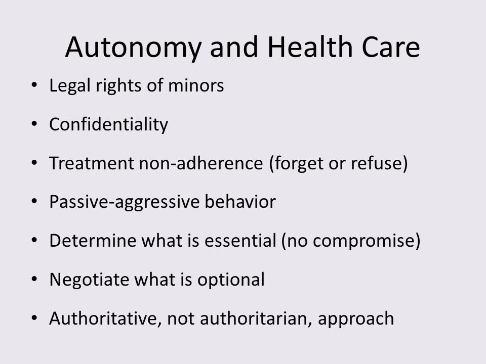 Autonomy and Health Care