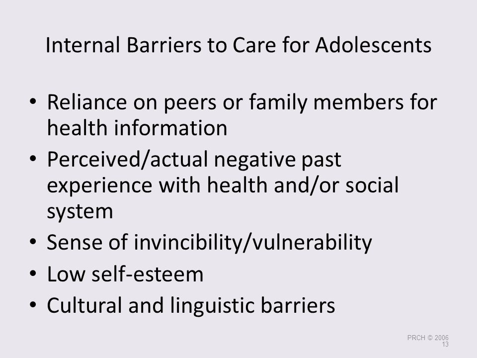 Internal Barriers to Care for Adolescents