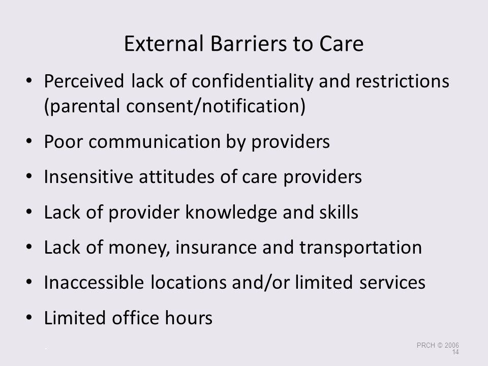 External Barriers to Care