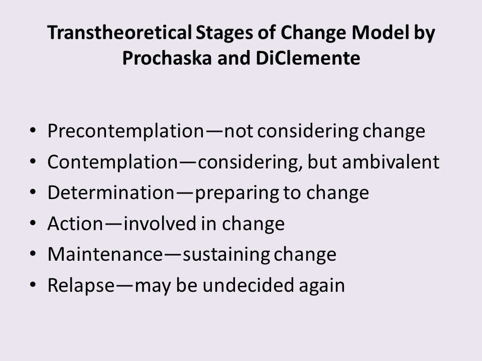 Transtheoretical Stages of Change Model by Prochaska and DiClemente