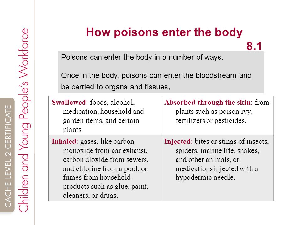 How poisons enter the body 8.1