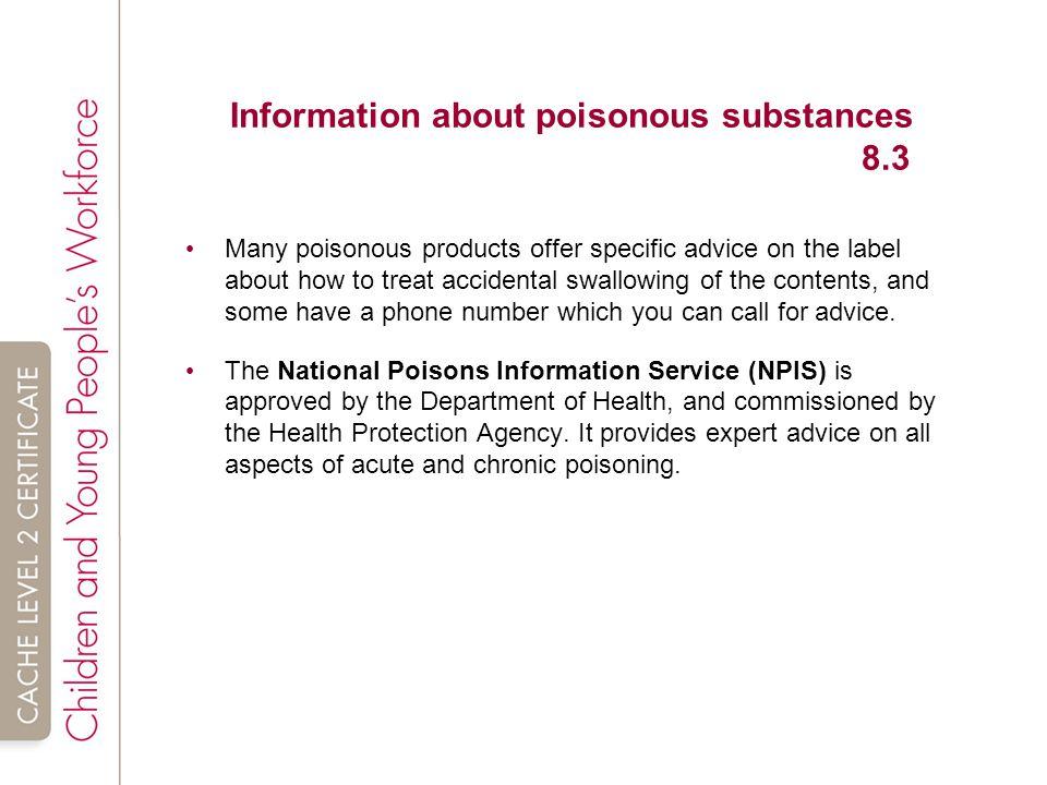Information about poisonous substances 8.3