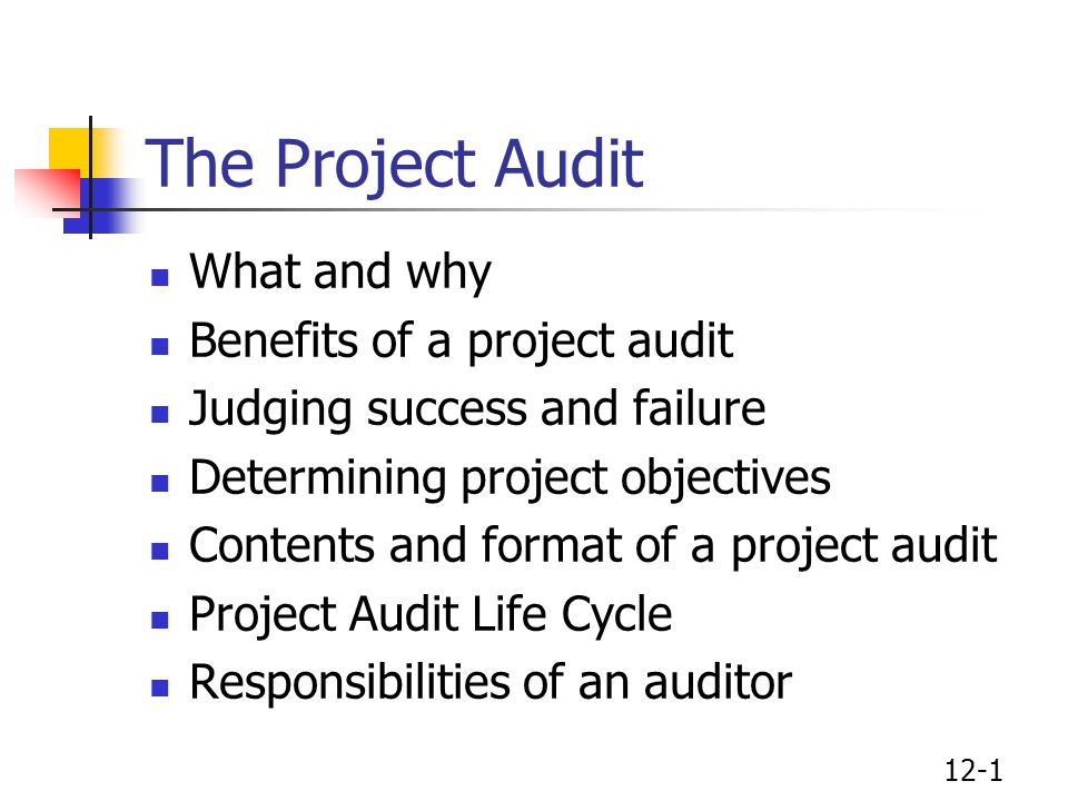The Project Audit What and why Benefits of a project audit