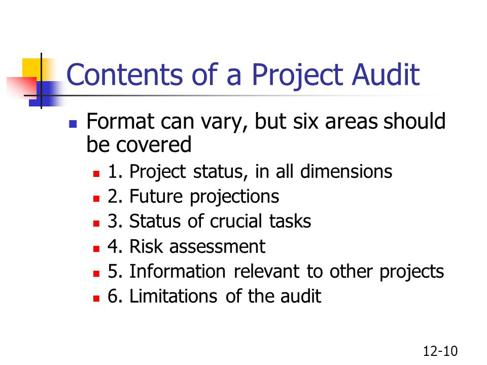 Contents of a Project Audit