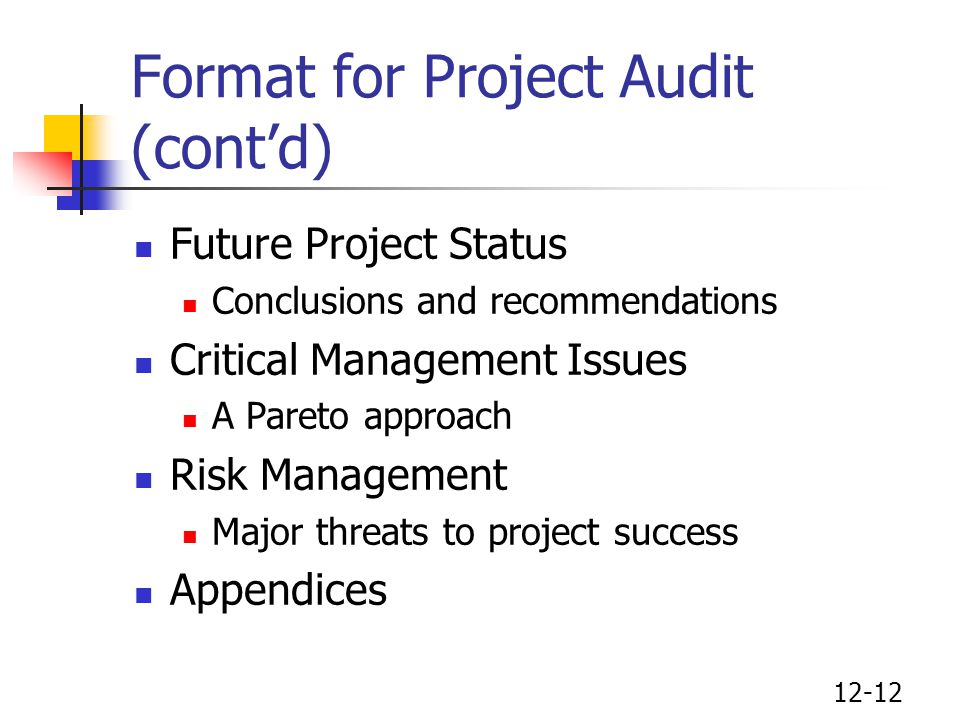 Format for Project Audit (cont'd)