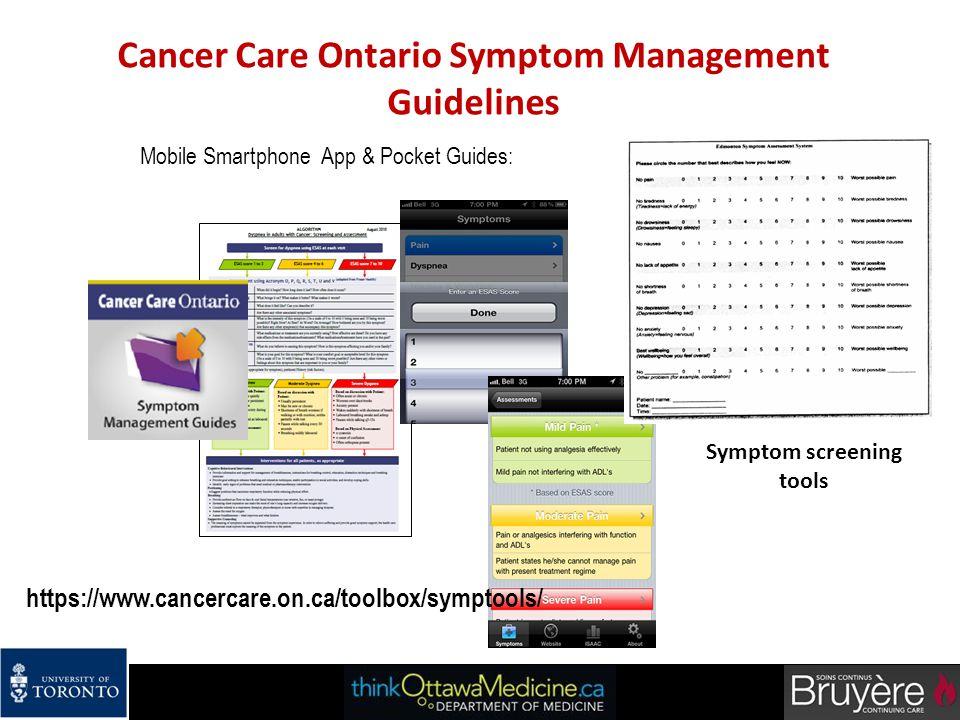 Cancer Care Ontario Symptom Management Guidelines