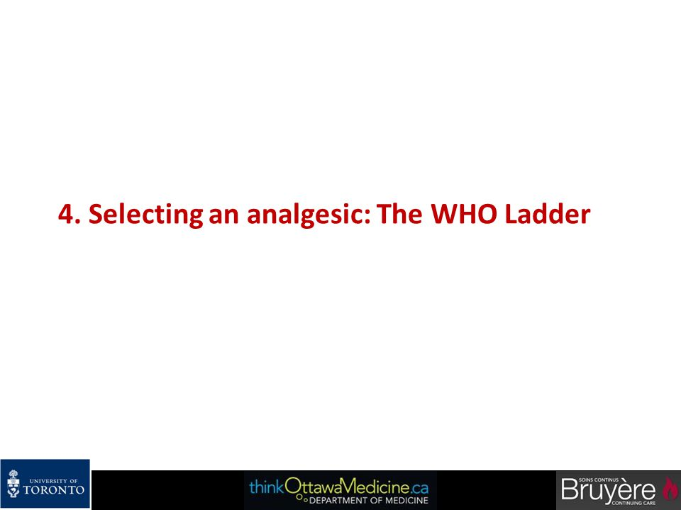 4. Selecting an analgesic: The WHO Ladder