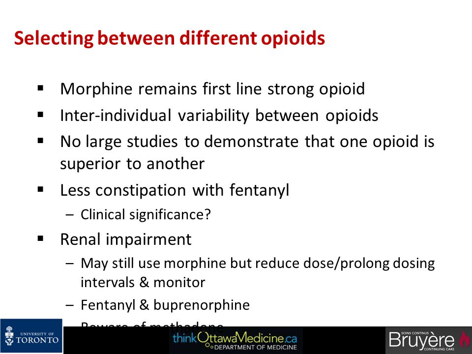 Selecting between different opioids