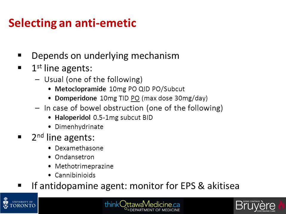 Selecting an anti-emetic