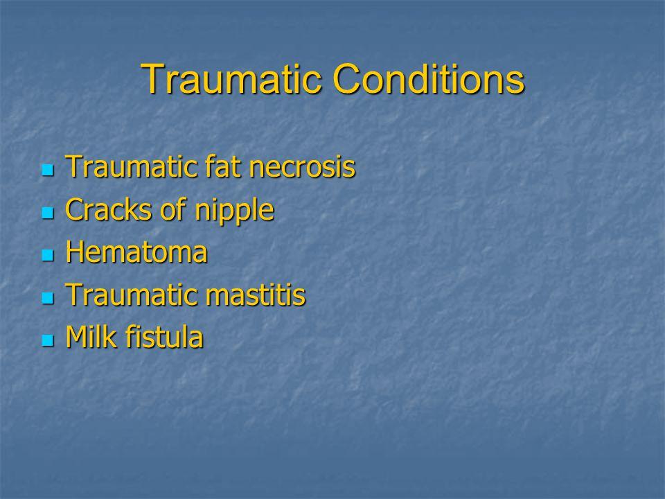 Traumatic Conditions Traumatic fat necrosis Cracks of nipple Hematoma