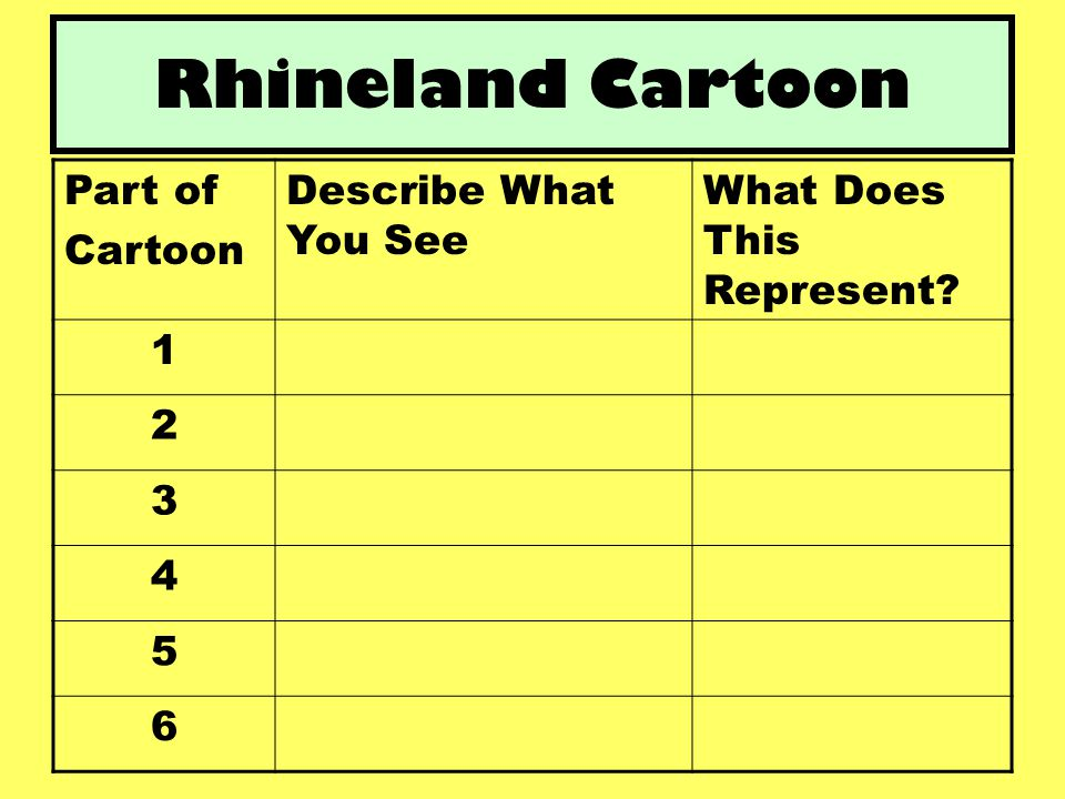 Rhineland Cartoon Part of Cartoon Describe What You See