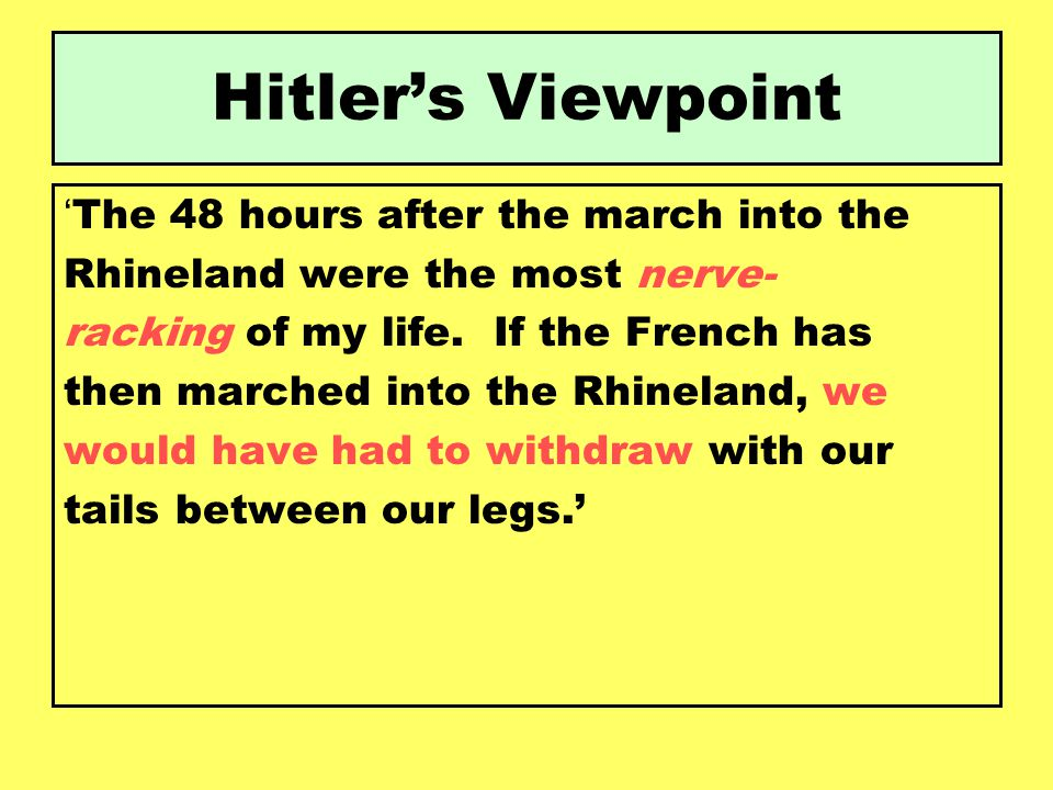 Hitler's Viewpoint 'The 48 hours after the march into the