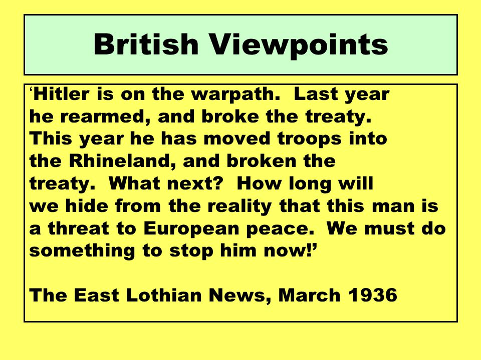 British Viewpoints 'Hitler is on the warpath. Last year