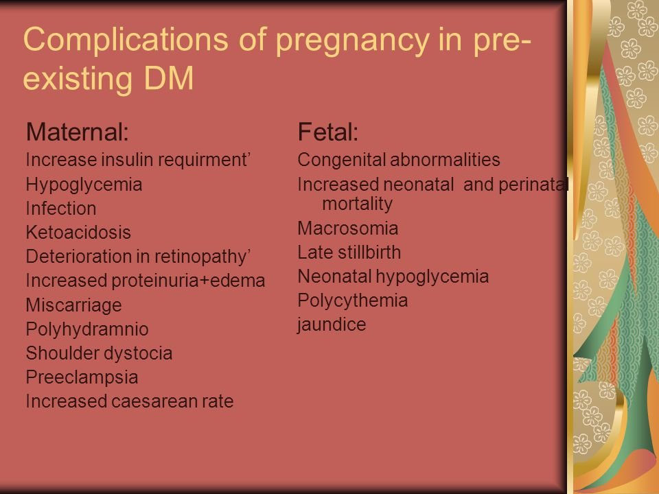 Complications of pregnancy in pre-existing DM