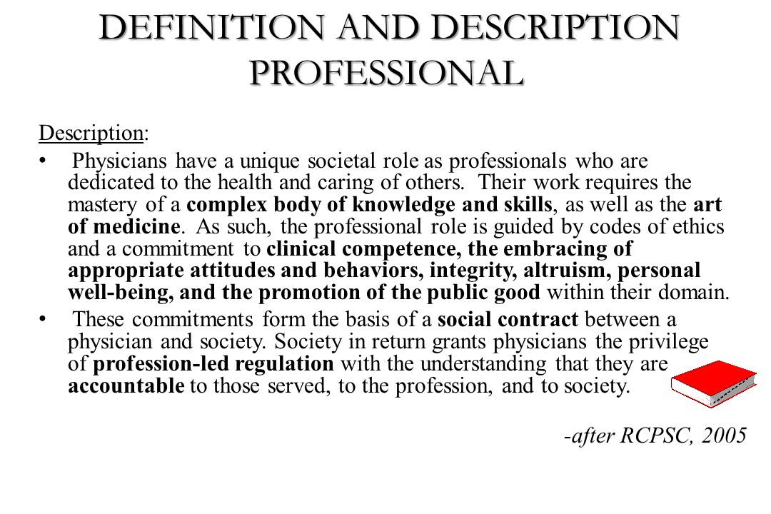 DEFINITION AND DESCRIPTION PROFESSIONAL