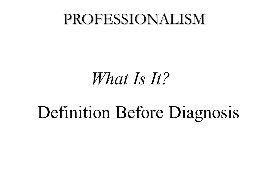 Definition Before Diagnosis