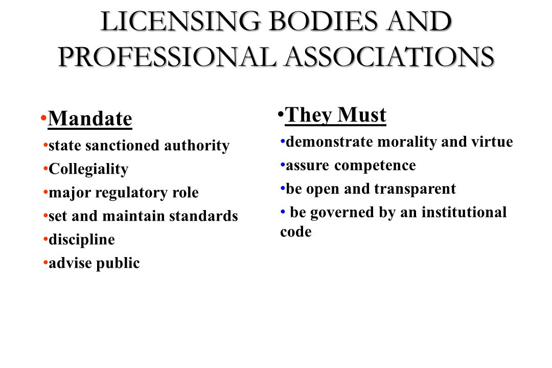 LICENSING BODIES AND PROFESSIONAL ASSOCIATIONS