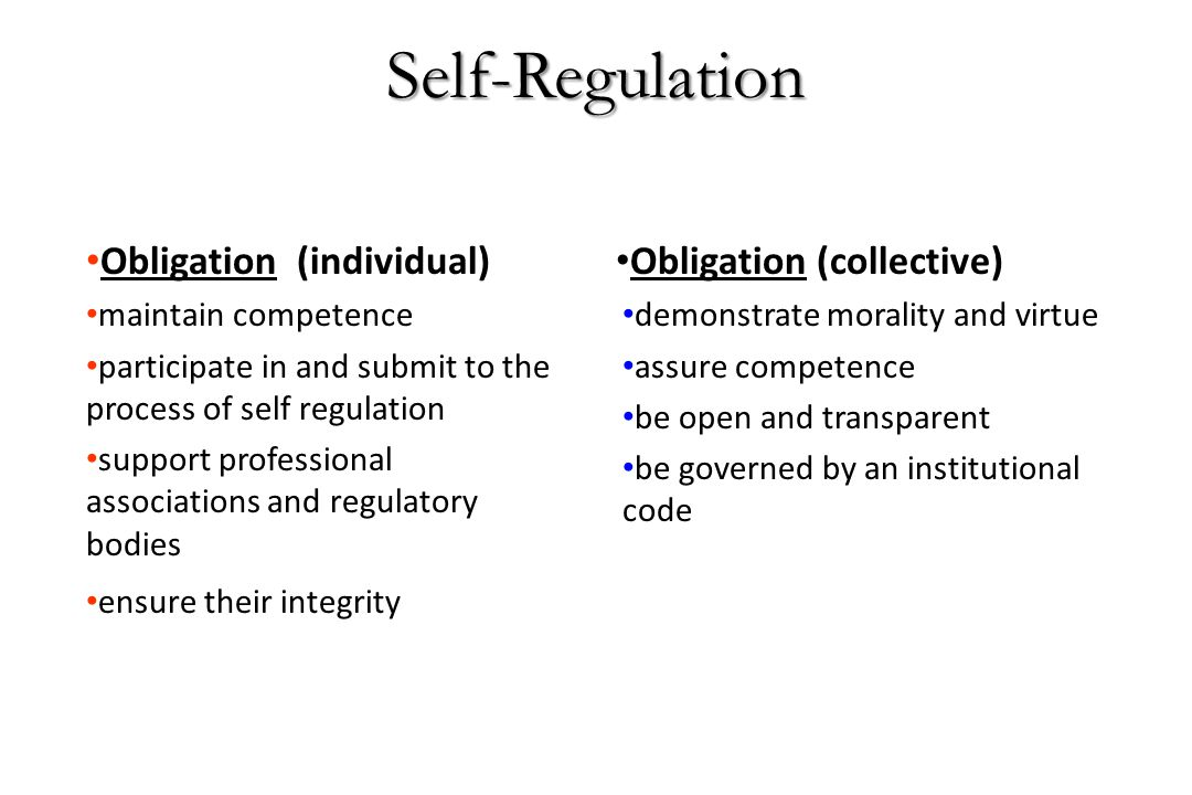 Self-Regulation Obligation (individual) Obligation (collective)