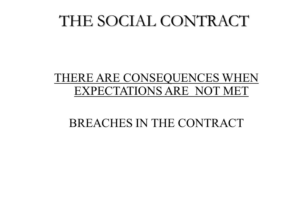 THE SOCIAL CONTRACT THERE ARE CONSEQUENCES WHEN EXPECTATIONS ARE NOT MET BREACHES IN THE CONTRACT
