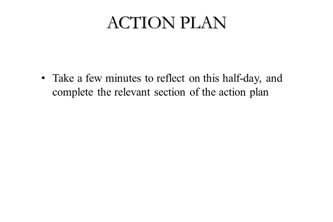 ACTION PLAN Take a few minutes to reflect on this half-day, and complete the relevant section of the action plan.