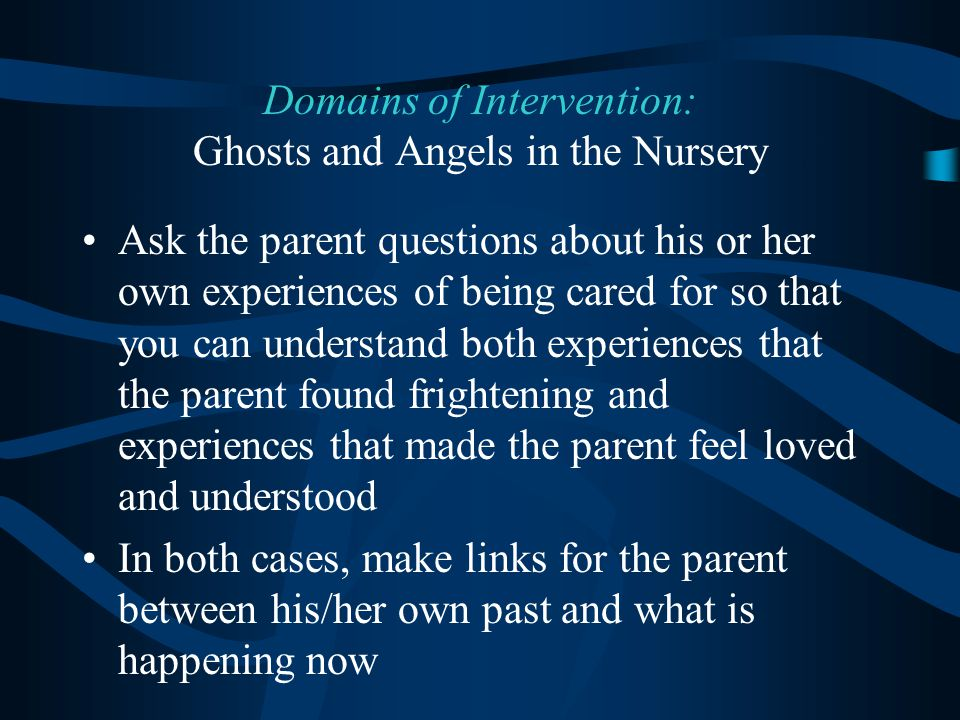 Domains of Intervention: Ghosts and Angels in the Nursery