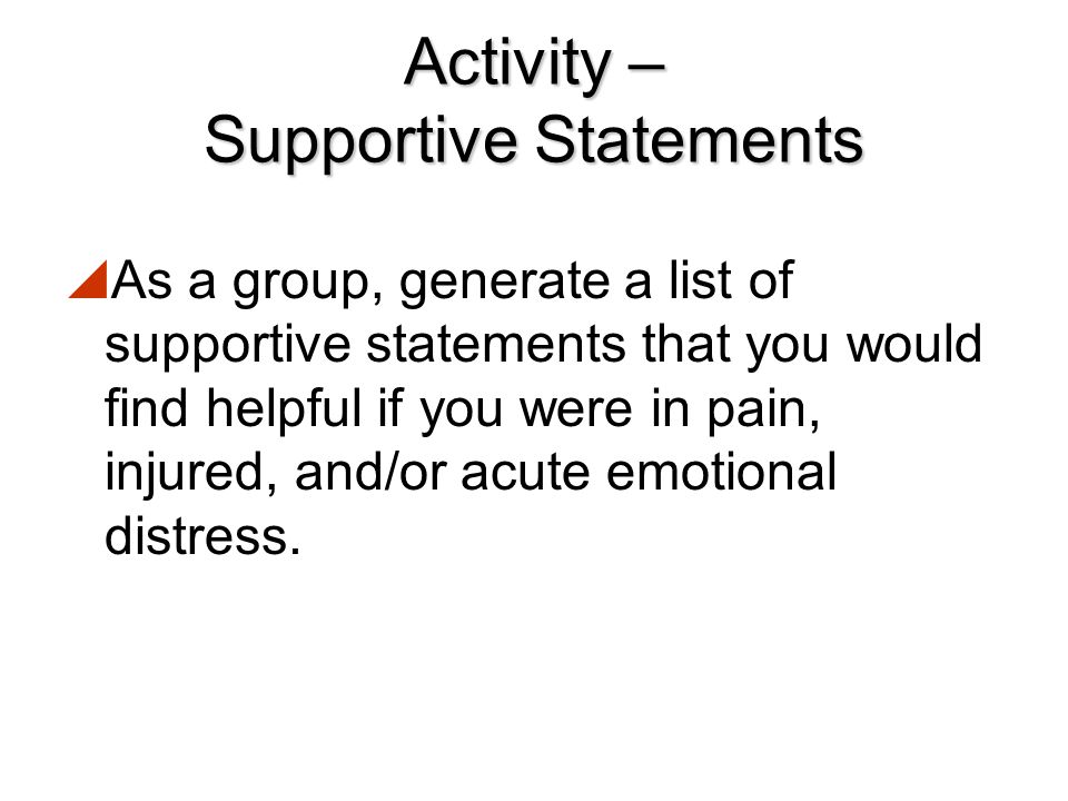 Activity – Supportive Statements