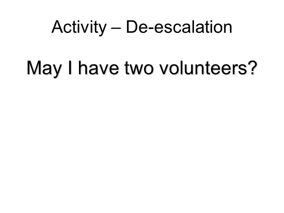 Activity – De-escalation