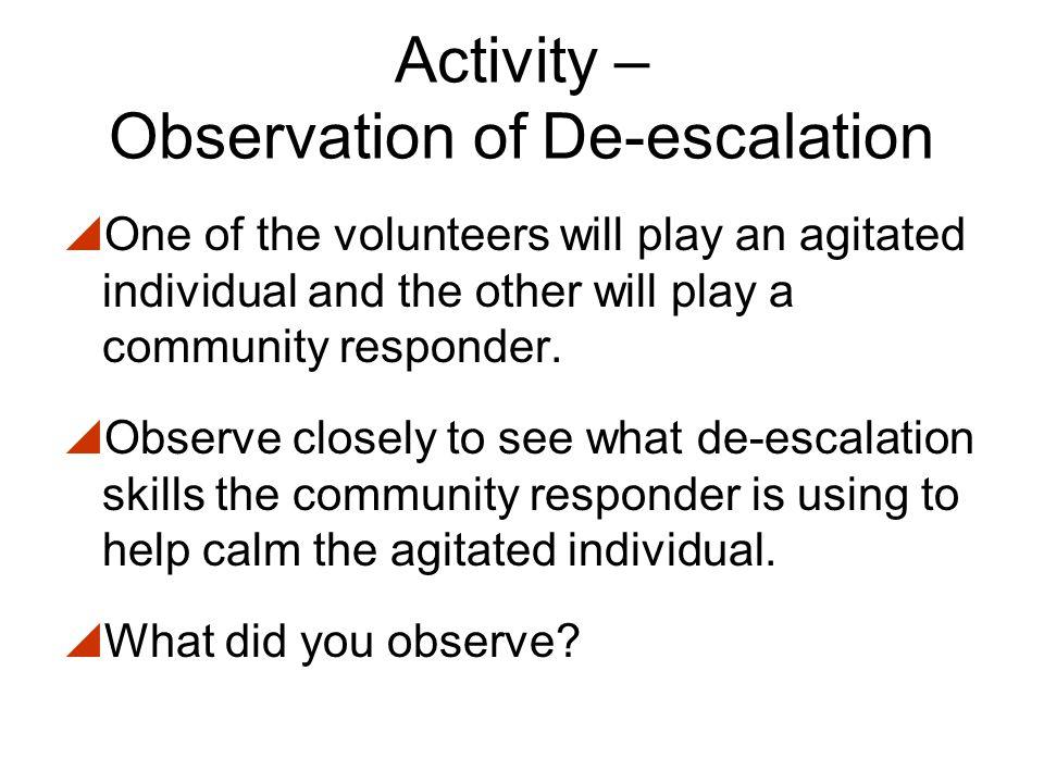 Activity – Observation of De-escalation