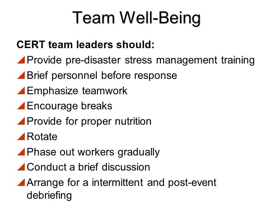 Team Well-Being CERT team leaders should: