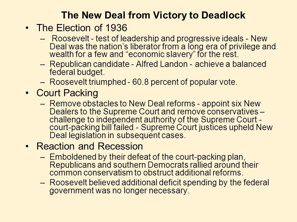 The New Deal from Victory to Deadlock