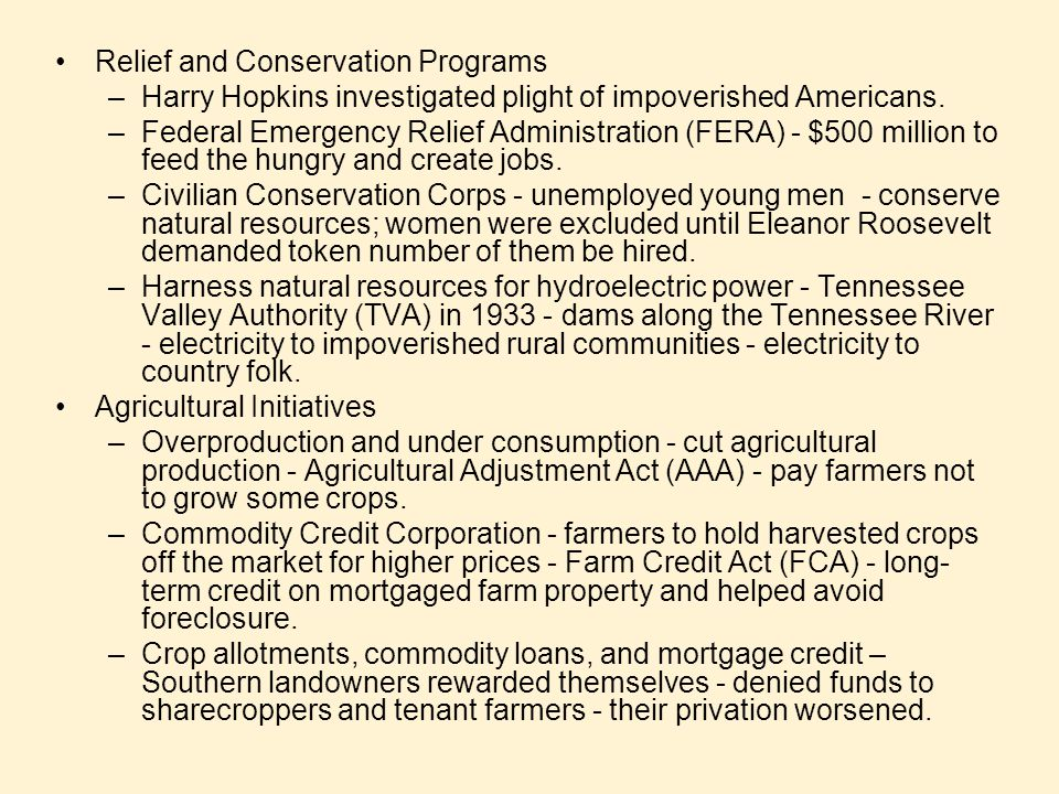 Relief and Conservation Programs