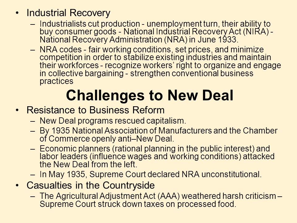 Challenges to New Deal Industrial Recovery
