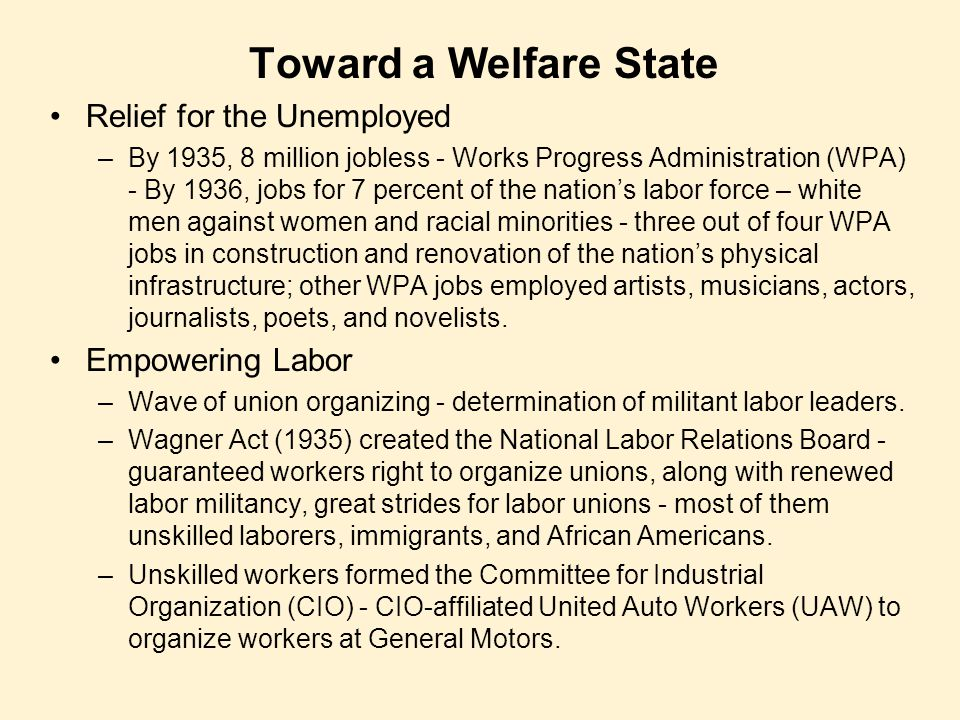 Toward a Welfare State Relief for the Unemployed Empowering Labor