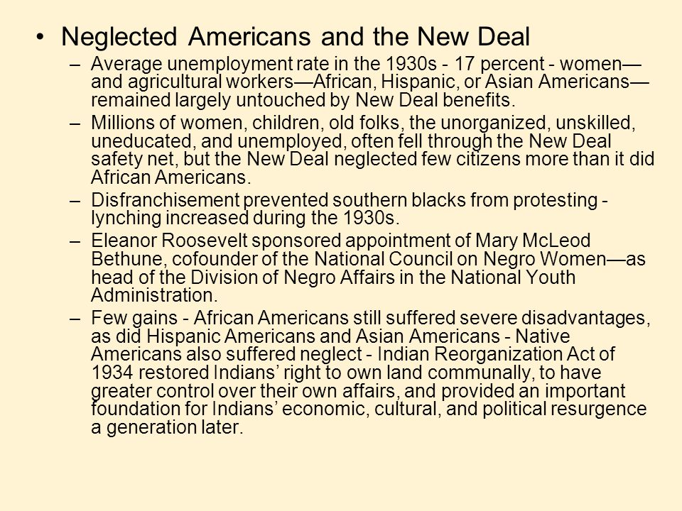 Neglected Americans and the New Deal