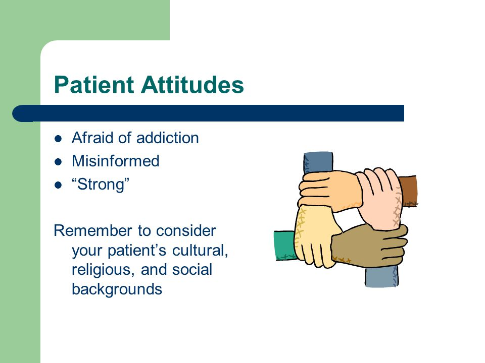Patient Attitudes Afraid of addiction Misinformed Strong