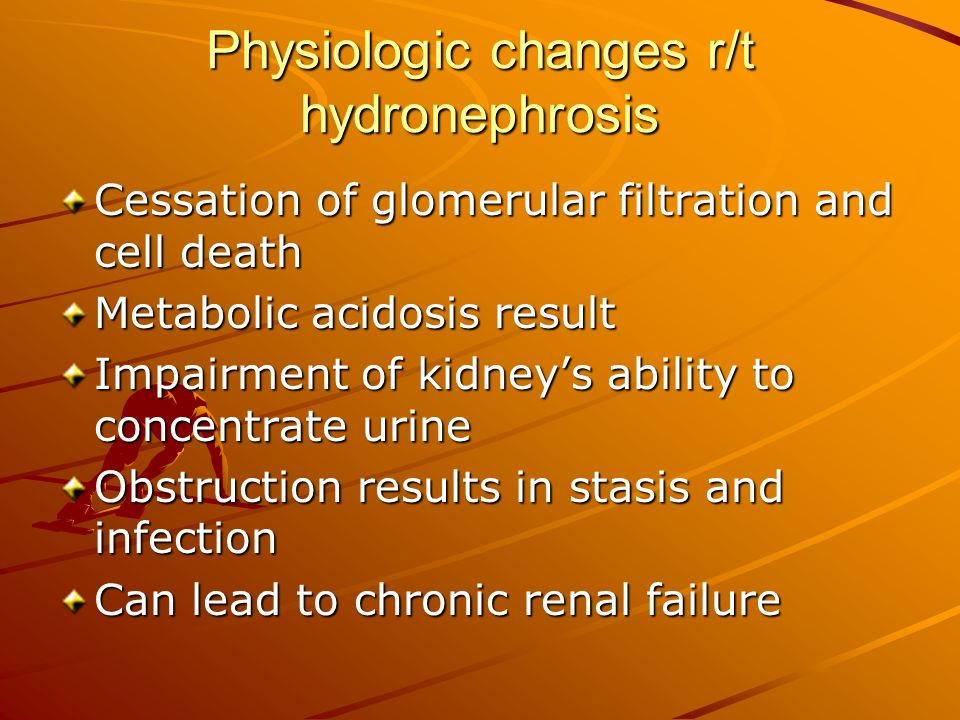 Physiologic changes r/t hydronephrosis